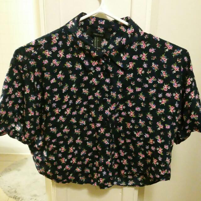 (F21)Floral Button Up Crop Top