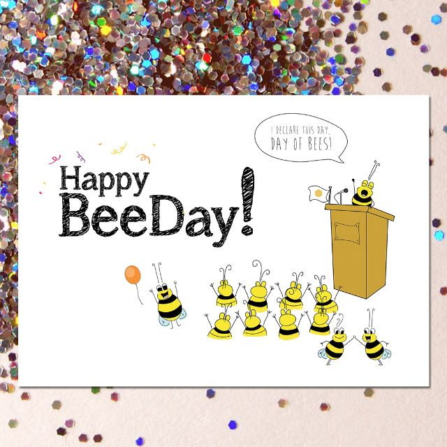 Funny Beeday Greeting Card with Free Seeds for Bee & You