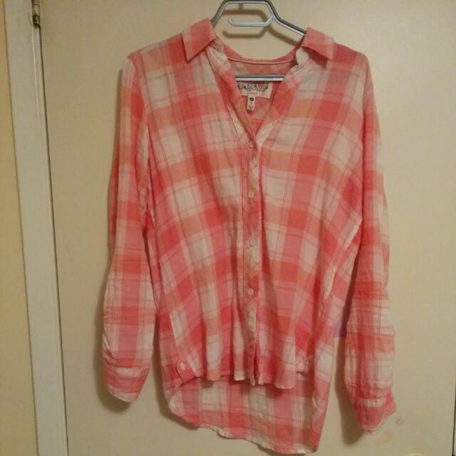 Krazy Kal Size S Pink Plaid Shirt