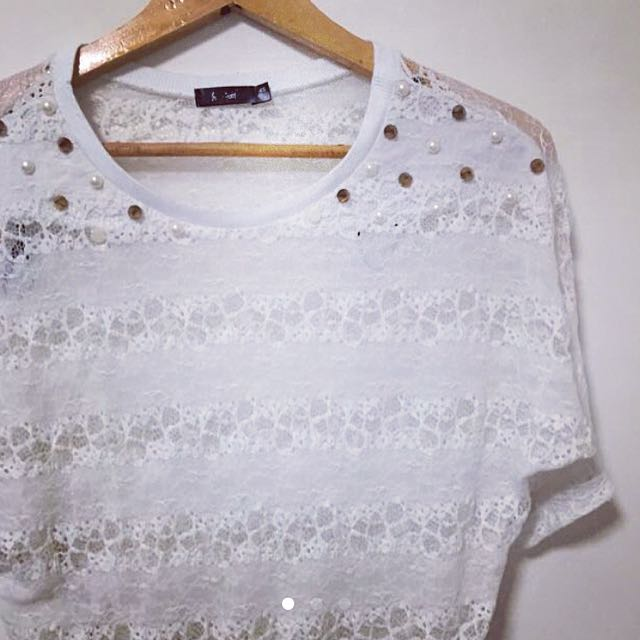 Lace Pearl & Gold Stud Detailed Top