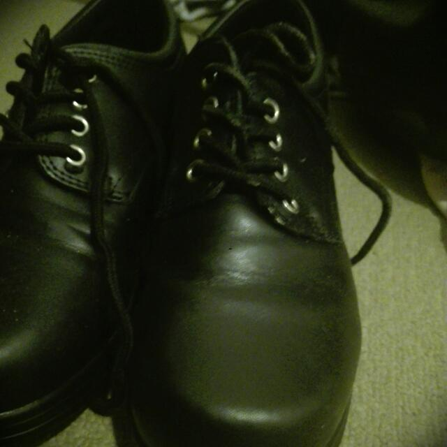 Leather black NEVER WORN school Shoes