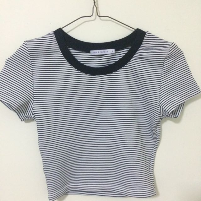 Luck & Trouble Striped Crop Top