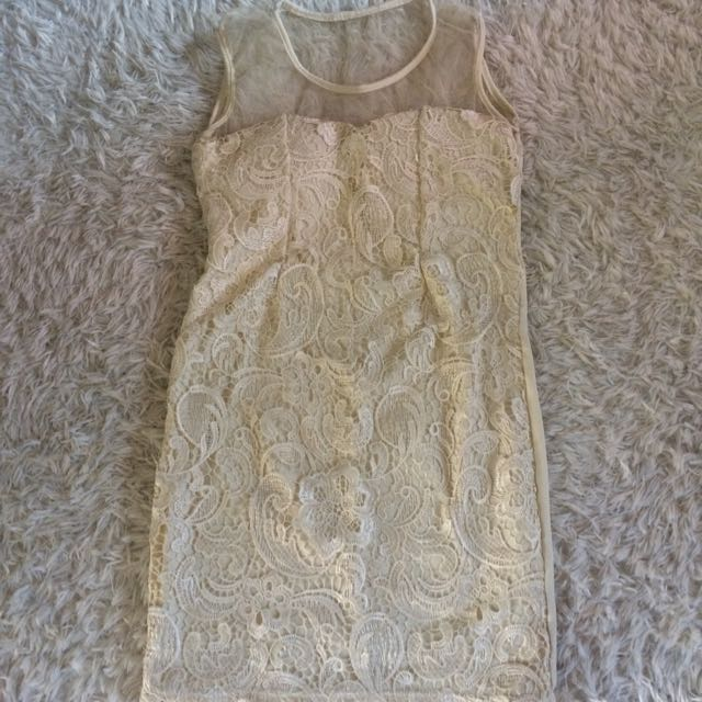 Mini Dress Brukat White