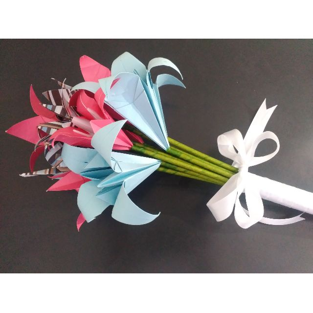 Paper Flowers - Pink and Blue Lily
