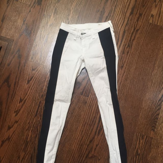 Rag And Bones White Jeans Black Stripe
