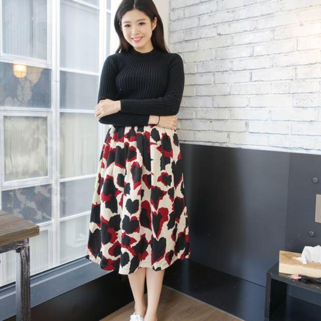 Seventh Home 韓國撞色豹紋裙