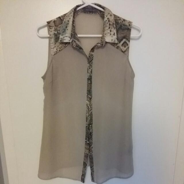Snakeskin Print Sleeveless Dress Shirt