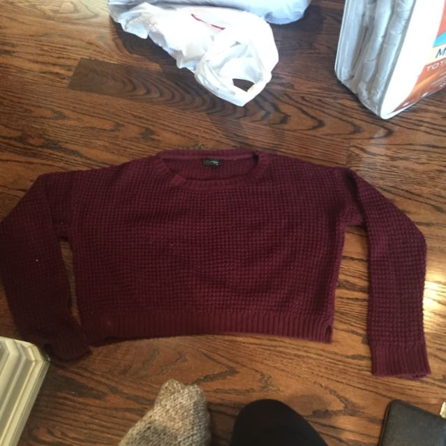 Top Shop Crop Red Sweater