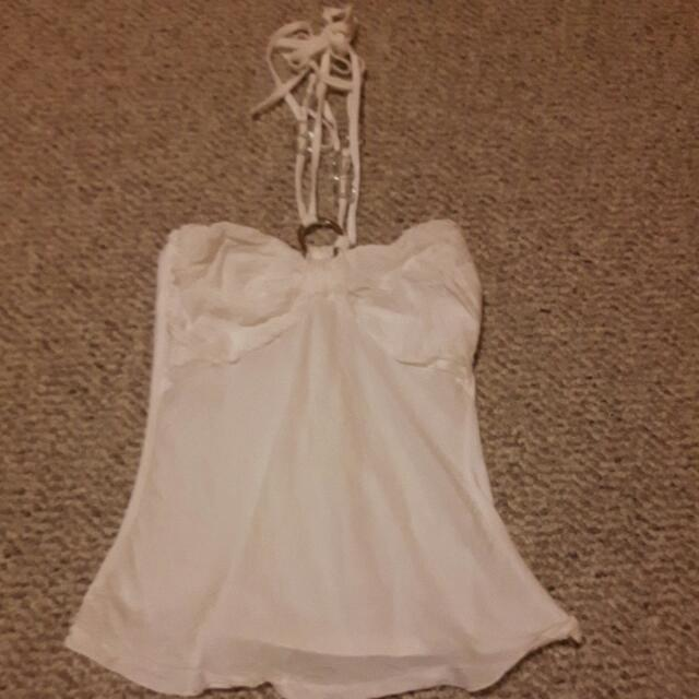 White Sleeveless Halter Top