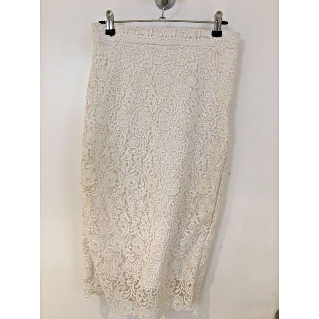 Zara Lace Pencil Skirt Size XS