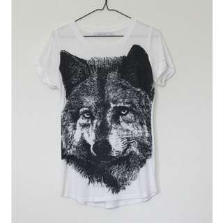 MINK PINK Wolf Print Short Sleeve Tshirt Basic Tee T Shirt Casual Top size 10