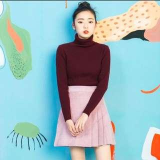 Per.藕紫百褶短裙