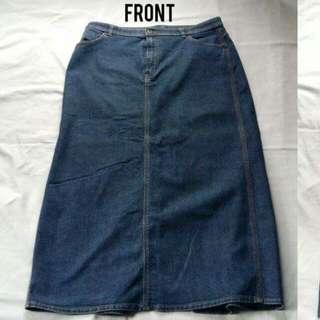 Branded Long Denim Skirt