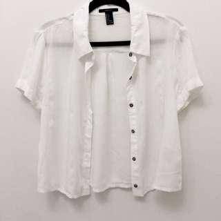 F21 | White Sheer Crop Button Up