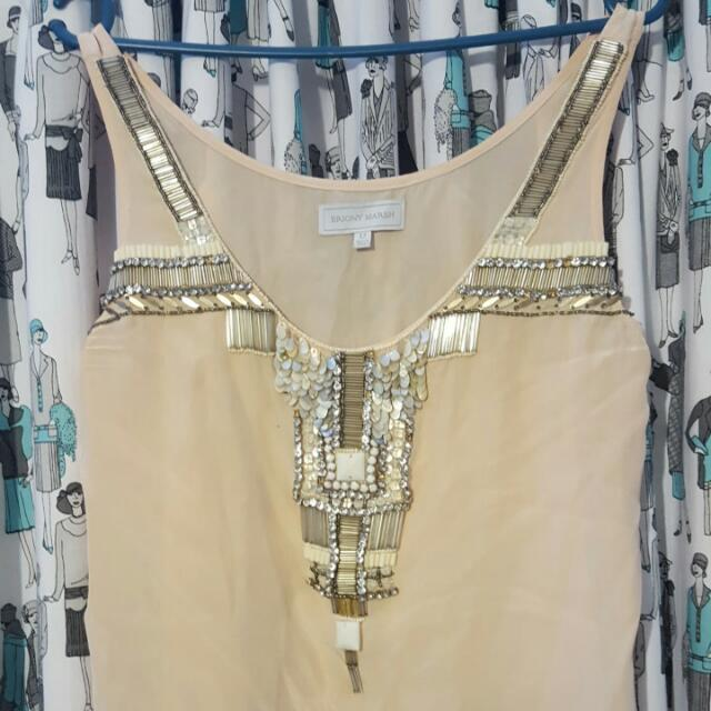 "100% Silk ""Briony Marsh"" Beaded Top Size 12"