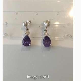 Purple Sterling Silver Earrings