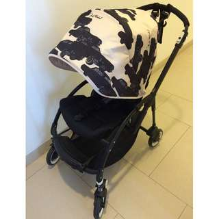 Bugaboo bee 2013, all black with Andy Warhol cars canopy