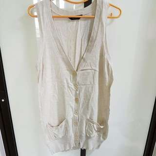 L/XL/UK12/UK14 - Dorothy Perkins Beige Sleeveless Long Top/ Dress