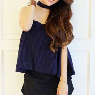 Navy blue top with choker