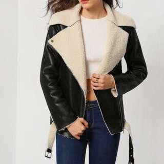 PU Leather Lapel Jacket | Size XS