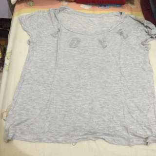 Express Grey Shimmery Tee