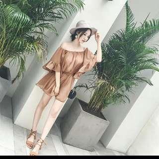 韓版女神級露肩一字領雪紡連身褲