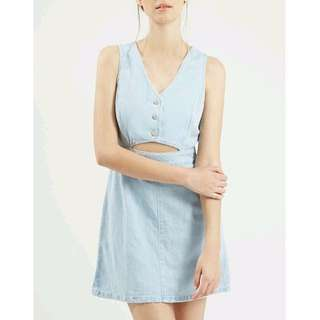 Denim Dress Jeans Chambray Sleeveless Button Mini Short Cut Out Aline Skirt sz 8