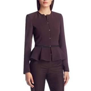 HUGO BOSS Burgundy Jacket Peplum Coat Suit Blazer Top Chic Pleated Long Size 8