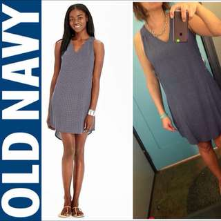 Old Navy Poplin Sleeveless Dress Navy Motif