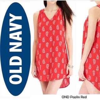 Old Navy Poplin Sleeveless Dress Orange Motif