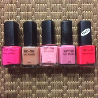 5 X BYS Nail Polishes (Nudes & Pinks)