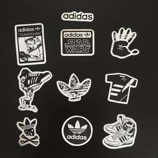 Black and White Adidas Stickers