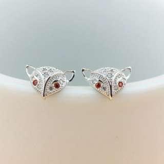 S925銀純銀拉絲氣質美人狐狸抗過敏耳環  Earrings