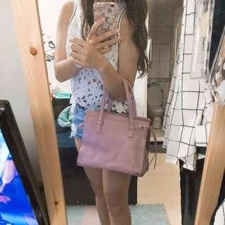 正韓粉色手提包
