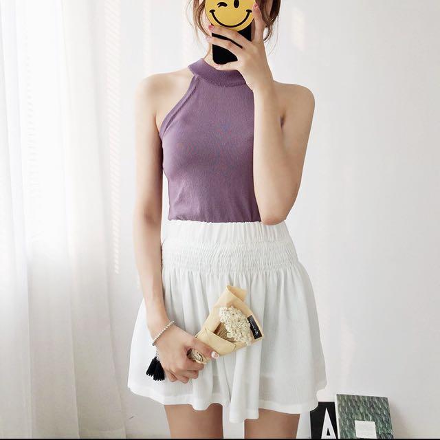 紫色削肩針織背心