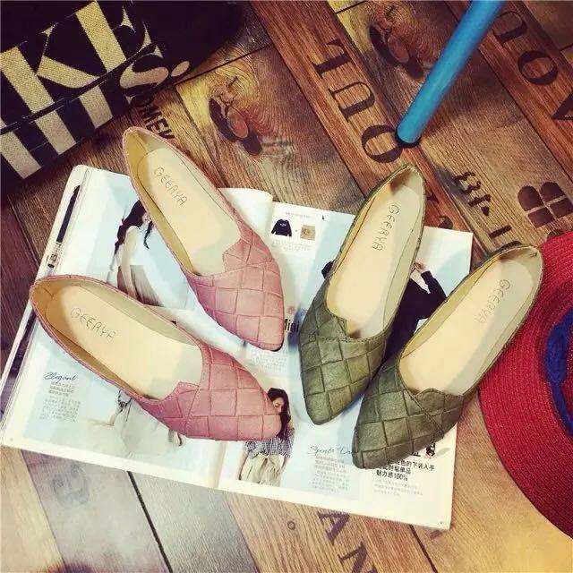 尖頭平底鞋簡約純色格子低跟女鞋