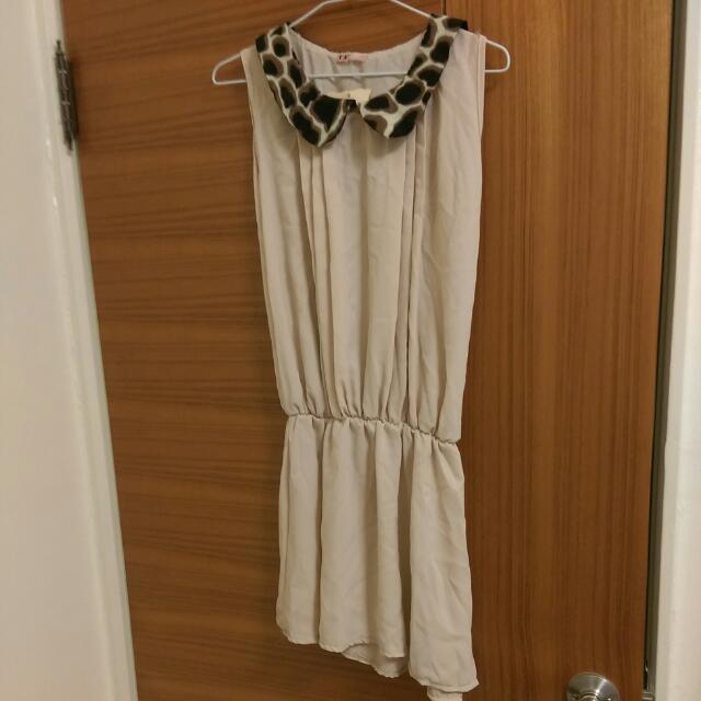 豹紋領杏色小洋裝