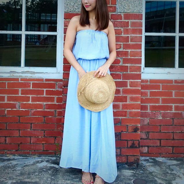水藍色連身洋裝