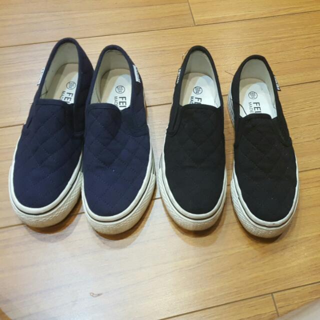 厚底休閒鞋(一黑,一深藍)