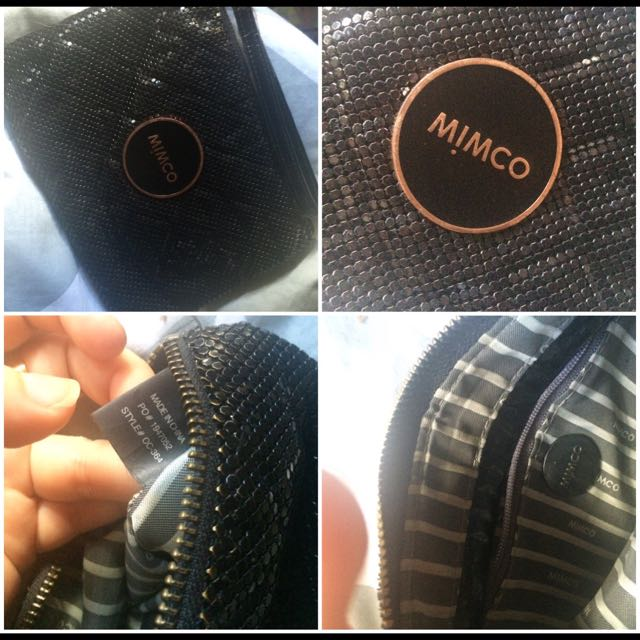 Black And Rose Gold Mesh MIMCO Pouch