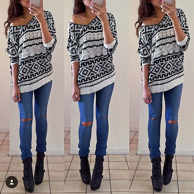 Black And White Printed Sweater