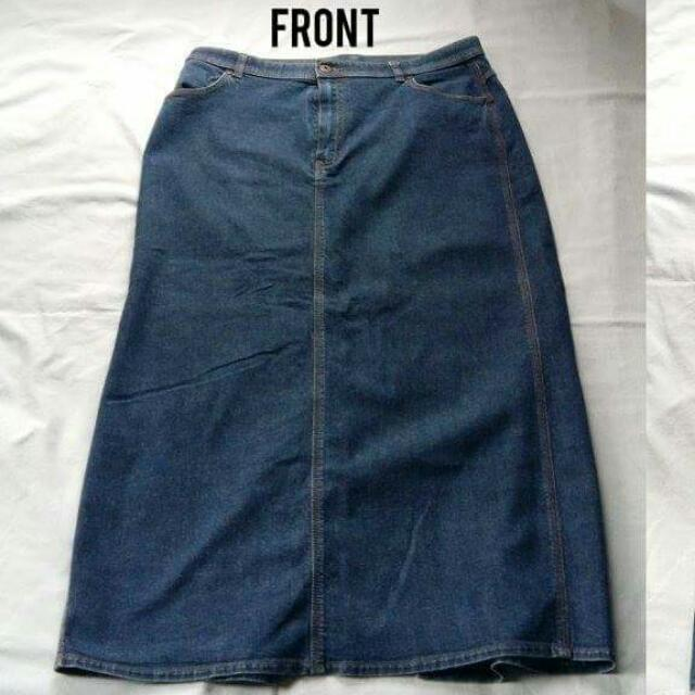 Branded Long Denim Skirt