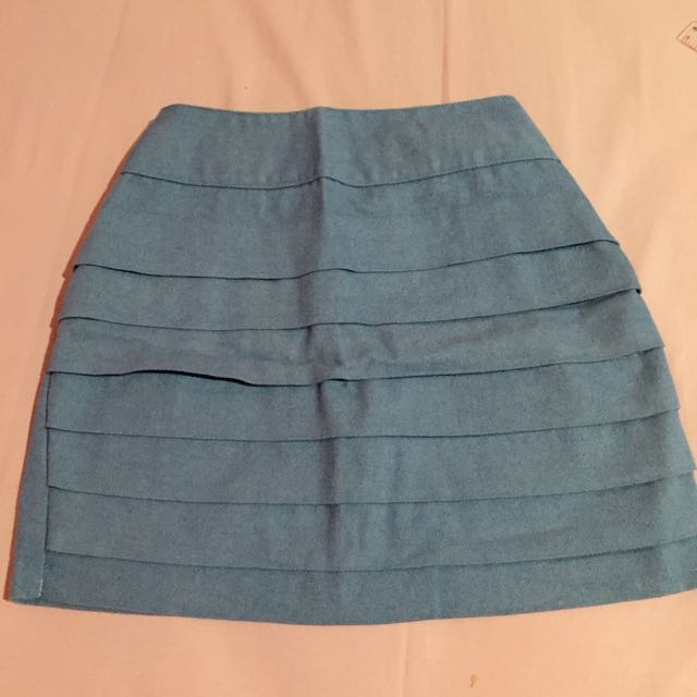 Denim Plated Mini Skirt
