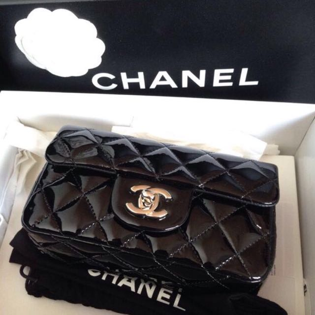 854c455cd9a6a9 Full Set, Unused] Authentic Chanel Patent Extra Mini Classic Flap ...