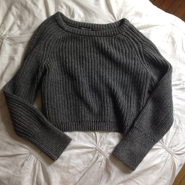 Grey American Apparel Cropped Fisherman Pullover