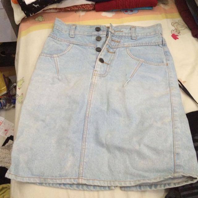 High Waisted Blue Jeans Skirt