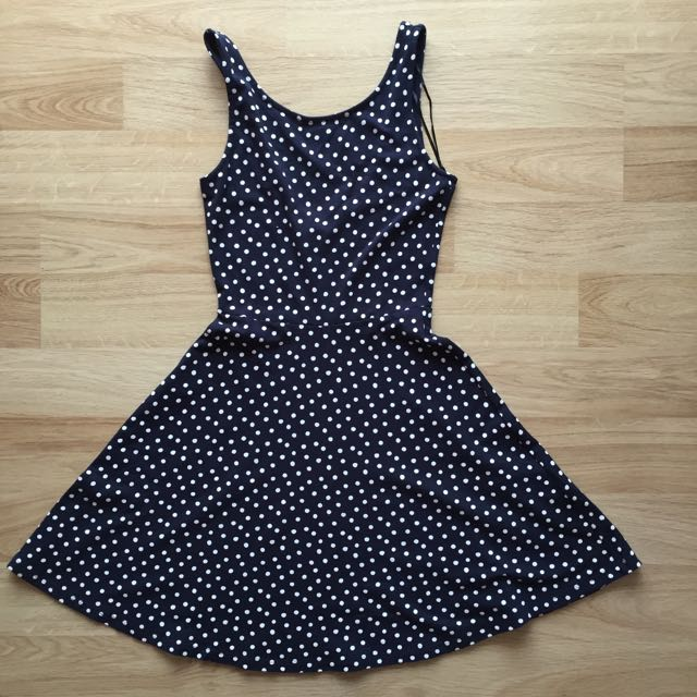 H&M polkadot navy blue dress (M)
