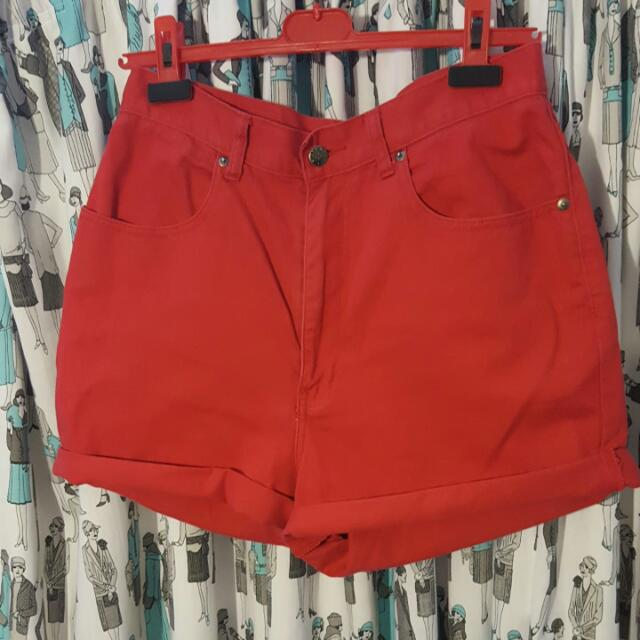 Jeans West High Waisted Red Shorts Size 14