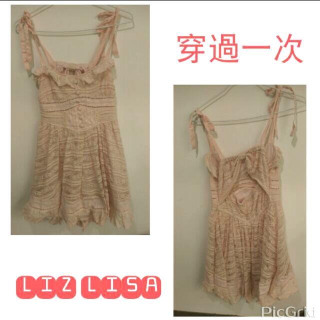 LIZ LISA 背後鏤空小性感粉紅蕾絲短洋裝