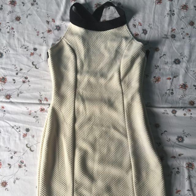 Off White Halter Dress